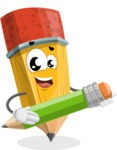 School Pencil Cartoon Vector Character AKA Mark McPencil - Holding a Pencil