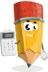 School Pencil Cartoon Vector Character AKA Mark McPencil - Holding Calculator