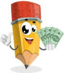 School Pencil Cartoon Vector Character AKA Mark McPencil - Holding Cash Money Banknotes