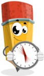 School Pencil Cartoon Vector Character AKA Mark McPencil - Holding clock
