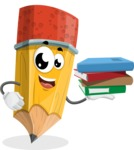 School Pencil Cartoon Vector Character AKA Mark McPencil - Holding Education Books