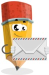School Pencil Cartoon Vector Character AKA Mark McPencil - Holding Mail Envelope