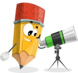 School Pencil Cartoon Vector Character AKA Mark McPencil - Looking through telescope