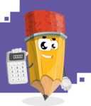 School Pencil Cartoon Vector Character AKA Mark McPencil - Math Cartoon Illustration