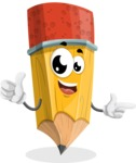 School Pencil Cartoon Vector Character AKA Mark McPencil - Pointing and Smiling