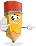 School Pencil Cartoon Vector Character AKA Mark McPencil - Pointing with a Finger
