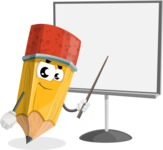 School Pencil Cartoon Vector Character AKA Mark McPencil - Pointing with a Pointer on Blank Presentation Board