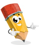 School Pencil Cartoon Vector Character AKA Mark McPencil - Pointing with Hands
