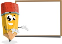 School Pencil Cartoon Vector Character AKA Mark McPencil - Presenting on Whiteboard