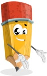 School Pencil Cartoon Vector Character AKA Mark McPencil - Presenting