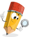 School Pencil Cartoon Vector Character AKA Mark McPencil - Searching with magnifying glass