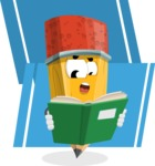 School Pencil Cartoon Vector Character AKA Mark McPencil - Reading a Book with Flat Background Illustration