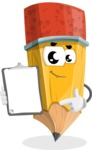 School Pencil Cartoon Vector Character AKA Mark McPencil - Showing a Notepad