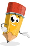 School Pencil Cartoon Vector Character AKA Mark McPencil - Showing with a Smile