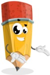 School Pencil Cartoon Vector Character AKA Mark McPencil - Showing with Both Hands