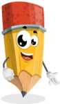 School Pencil Cartoon Vector Character AKA Mark McPencil - Smiling