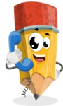 School Pencil Cartoon Vector Character AKA Mark McPencil - Talking on Phone