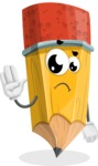 School Pencil Cartoon Vector Character AKA Mark McPencil - Waving for Goodbye with a Hand