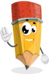 School Pencil Cartoon Vector Character AKA Mark McPencil - Waving for Hello with a Smiling Face