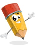 School Pencil Cartoon Vector Character AKA Mark McPencil - Waving with a Hand