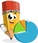 School Pencil Cartoon Vector Character AKA Mark McPencil - With a Business Pie Chart