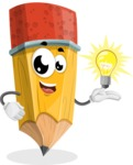 School Pencil Cartoon Vector Character AKA Mark McPencil - with an Idea