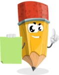 School Pencil Cartoon Vector Character AKA Mark McPencil - With Blank Paper