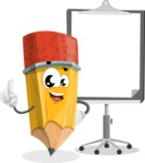School Pencil Cartoon Vector Character AKA Mark McPencil - With Blank Presentation Board