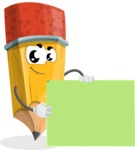 School Pencil Cartoon Vector Character AKA Mark McPencil - With Blank Presentation Sign