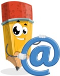 School Pencil Cartoon Vector Character AKA Mark McPencil - With Email Sign - Web