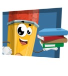 School Pencil Cartoon Vector Character AKA Mark McPencil - With Flat Background Illustration
