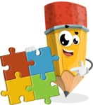 School Pencil Cartoon Vector Character AKA Mark McPencil - with Puzzle
