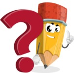 School Pencil Cartoon Vector Character AKA Mark McPencil - with Question mark