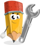 School Pencil Cartoon Vector Character AKA Mark McPencil - with Repairing tool - wrench
