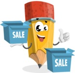 School Pencil Cartoon Vector Character AKA Mark McPencil - With Sale Boxes