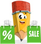 School Pencil Cartoon Vector Character AKA Mark McPencil - With Shopping Bags