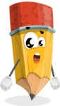 School Pencil Cartoon Vector Character AKA Mark McPencil - With Stunned Face