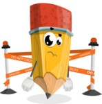School Pencil Cartoon Vector Character AKA Mark McPencil - with Under Construction sign