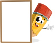 School Pencil Cartoon Vector Character AKA Mark McPencil - With Whiteboard and Smiling