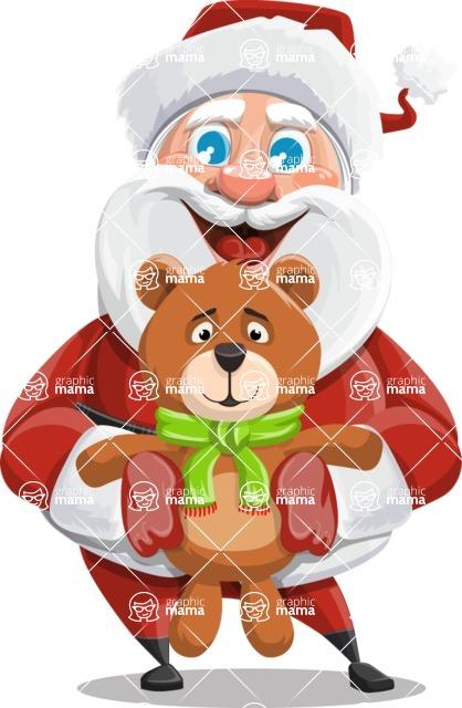 Santa Claus Cartoon Vector Character AKA Mr. Claus North-pole - With Plush Bear Gift