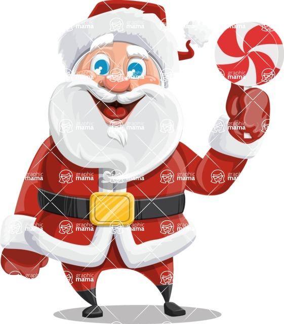 Santa Claus Cartoon Vector Character AKA Mr. Claus North-pole - With Christmas Sweet - Lollipop