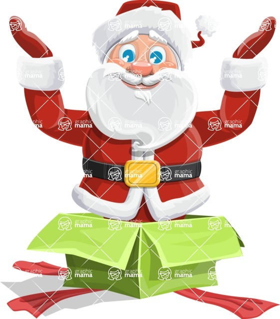 Santa Claus Cartoon Vector Character AKA Mr. Claus North-pole - popping out of a Christmas Box