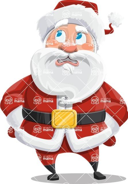 Santa Claus Cartoon Vector Character AKA Mr. Claus North-pole - Rolling Eyes