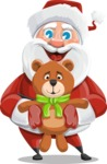 Santa Claus Cartoon Vector Character AKA Mr. Claus North-pole - With Plush Bear Gift