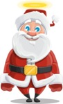 Santa Claus Cartoon Vector Character AKA Mr. Claus North-pole - Being Good with a Halo