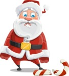 Santa Claus Cartoon Vector Character AKA Mr. Claus North-pole - Being Sad With Broken Candy Cane