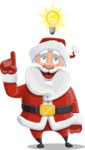 Santa Claus Cartoon Vector Character AKA Mr. Claus North-pole - Being Smart with an Idea