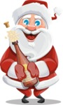 Santa Claus Cartoon Vector Character AKA Mr. Claus North-pole - Celebrating With Champagne