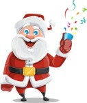 Santa Claus Cartoon Vector Character AKA Mr. Claus North-pole - Celebrating with Confetti
