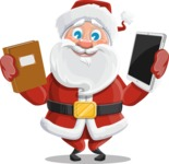 Santa Claus Cartoon Vector Character AKA Mr. Claus North-pole - Choosing Between a Book and a Modern Tablet Reading